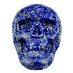 Natural 16.45cts lapis lazuli blue carving 22.5x15mm skull loose gemstone s18034