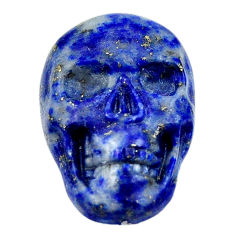 Natural 16.30cts lapis lazuli blue carving 22.5x15mm skull loose gemstone s18035