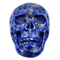 Natural 15.10cts lapis lazuli blue carving 22.5x15mm skull loose gemstone s18037
