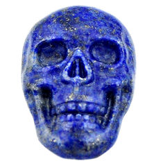 Natural 17.40cts lapis lazuli blue carving 22.5x15mm skull loose gemstone s18038