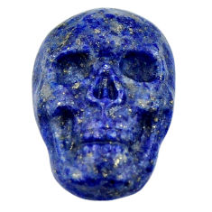 Natural 16.35cts lapis lazuli blue carving 22.5x15mm skull loose gemstone s18039