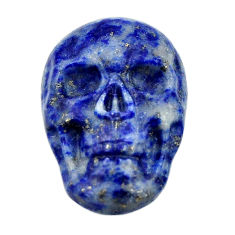 Natural 16.35cts lapis lazuli blue carving 22.5x15mm skull loose gemstone s18040