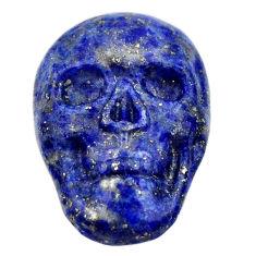 Natural 15.30cts lapis lazuli blue carving 22.5x16mm skull loose gemstone s18015