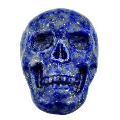 Natural 15.20cts lapis lazuli blue carving 22x15 mm skull loose gemstone s18028