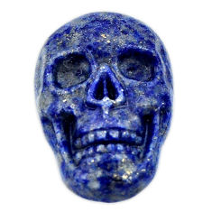 Natural 18.35cts lapis lazuli blue carving 22x15 mm skull loose gemstone s18036