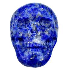 Natural 17.40cts lapis lazuli blue carving 23x16 mm skull loose gemstone s18017