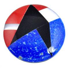 Natural 13.25cts lapis lazuli inlay 20x20 mm round loose gemstone s20483