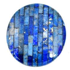 Natural 7.40cts lapis lazuli inlay cabochon 18x16 mm round loose gemstone s20519
