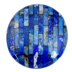 Natural 7.40cts lapis lazuli inlay cabochon 18x16 mm round loose gemstone s20520
