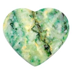 Natural 40.30cts mariposite green cabochon 32x28 mm heart loose gemstone s21466