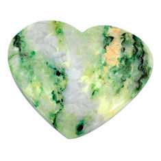 Natural 42.40cts mariposite green cabochon 34x28 mm heart loose gemstone s21469
