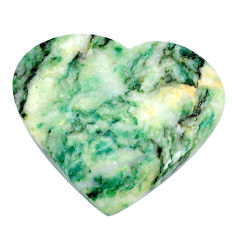 Natural 49.45cts mariposite green cabochon 37x33 mm heart loose gemstone s21471
