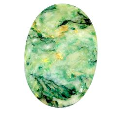 Natural 43.35cts mariposite green cabochon 38x25 mm oval loose gemstone s21482