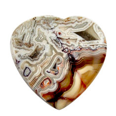 Natural 12.40cts mexican laguna lace agate 20x20 mm heart loose gemstone s17417