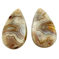 Natural 20.10cts mexican laguna lace agate 21x12.5 mm pair loose gemstone s18877