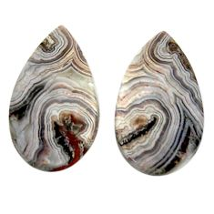 Natural 19.45cts mexican laguna lace agate 22.5x13 mm pair loose gemstone s18864