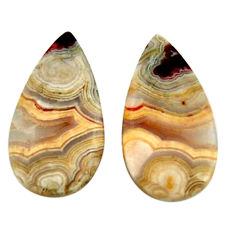 Natural 15.10cts mexican laguna lace agate 22x12 mm pair loose gemstone s18870