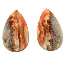Natural 19.20cts mexican laguna lace agate 22x12.5 mm pair loose gemstone s18878
