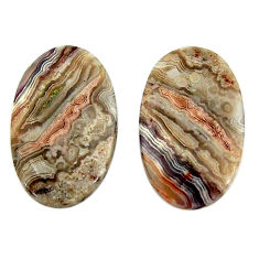 Natural 23.45cts mexican laguna lace agate 22x14 mm pair loose gemstone s18875