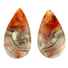Natural 14.45cts mexican laguna lace agate 23x11.5 mm pair loose gemstone s18867