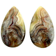 Natural 19.45cts mexican laguna lace agate 23x13 mm pair loose gemstone s18880