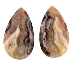 Natural 23.45cts mexican laguna lace agate 24x13 mm pair loose gemstone s18865