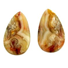 Natural 23.45cts mexican laguna lace agate 24x13.5 mm pair loose gemstone s18871