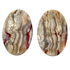 Natural 27.35cts mexican laguna lace agate 24x15 mm pair loose gemstone s18866