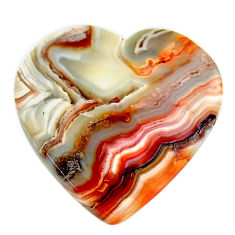 Natural 24.45cts mexican laguna lace agate 24x24 mm heart loose gemstone s17447