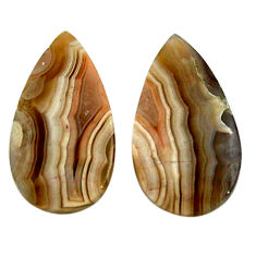 Natural 22.35cts mexican laguna lace agate 25x13.5 mm pair loose gemstone s18863