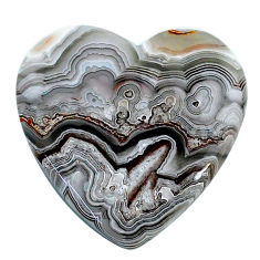 Natural 18.40cts mexican laguna lace agate 25x25 mm heart loose gemstone s24738