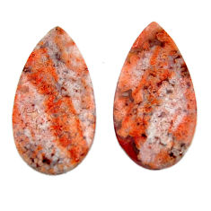 Natural 23.45cts mexican laguna lace agate 26x14 mm pair loose gemstone s18879