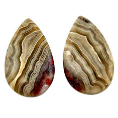 Natural 27.40cts mexican laguna lace agate 26x15 mm pair loose gemstone s18862