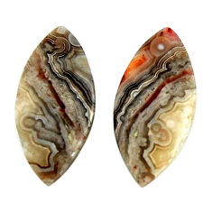Natural 22.35cts mexican laguna lace agate 27x13 mm pair loose gemstone s18868