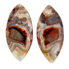 Natural 25.15cts mexican laguna lace agate 28x12.5 mm pair loose gemstone s18872