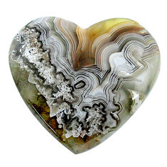 Natural 26.30cts mexican laguna lace agate 28x26 mm heart loose gemstone s24736