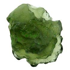 Natural 11.20cts moldavite (genuine czech) rough 16x13.5mm loose gemstone s16083