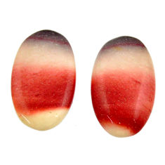 Natural 13.10cts mookaite brown cabochon 18.5x11 mm loose pair gemstone s16873