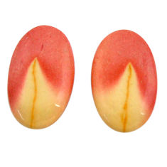 Natural 16.30cts mookaite brown cabochon 20x12 mm pair loose gemstone s18887