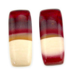 Natural 19.45cts mookaite brown cabochon 24x9 mm loose pair gemstone s16869