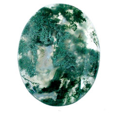 Natural 32.40cts moss agate green cabochon 31x23.5 mm oval loose gemstone s20733