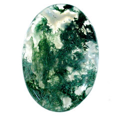 Natural 33.45cts moss agate green cabochon 34x23 mm oval loose gemstone s20728