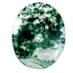 Natural 38.15cts moss agate green cabochon 35x27 mm oval loose gemstone s20730
