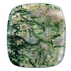 Natural 43.45cts moss agate green cabochon 35x30mm cushion loose gemstone s20723