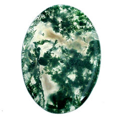 Natural 32.40cts moss agate green cabochon 37.5x25 mm oval loose gemstone s20732
