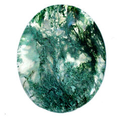 Natural 41.30cts moss agate green cabochon 38x30 mm oval loose gemstone s20738