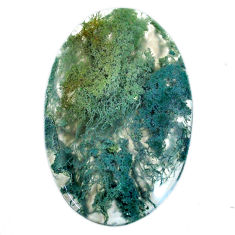 Natural 35.10cts moss agate green cabochon 39x25 mm oval loose gemstone s20736