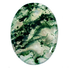Natural 46.20cts moss agate green cabochon 39x28 mm oval loose gemstone s20739