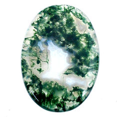 Natural 46.30cts moss agate green cabochon 40x27.5 mm oval loose gemstone s20731