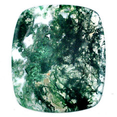 Natural 67.40cts moss agate green cabochon 43x36mm cushion loose gemstone s20722